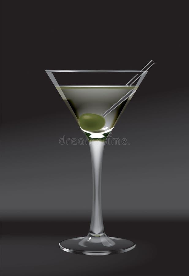 玻璃马蒂尼鸡尾酒橄榄 皇族释放例证