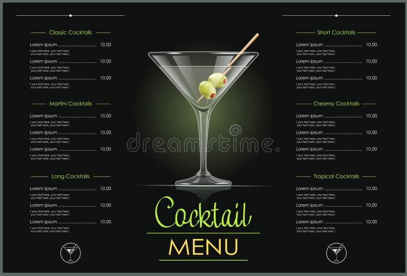 玻璃马蒂尼鸡尾酒 鸡尾酒菜单设计 向量例证