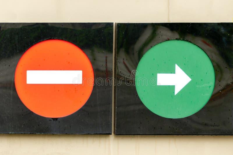 玻璃,红色和绿色,路标 小心错误的方向,不进入交通标志,移动在仅右边 库存图片