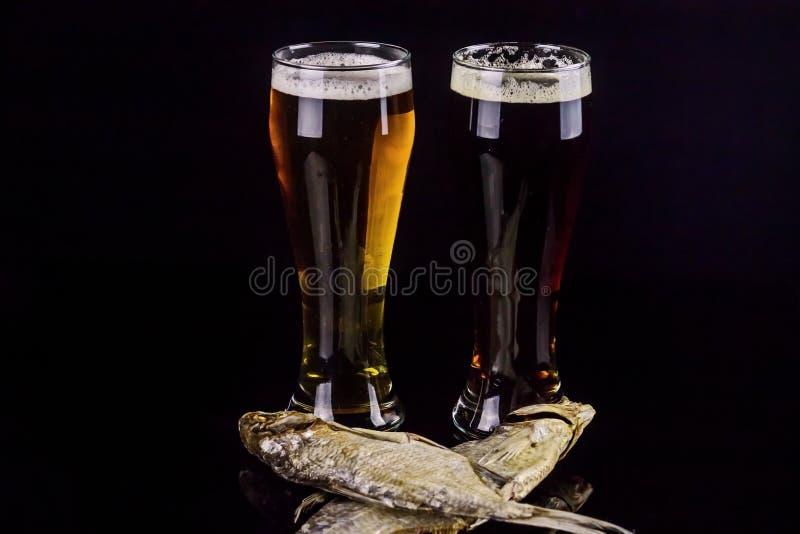??0 5公升与干鱼特写镜头的黑暗和低度黄啤酒在黑背景 库存照片