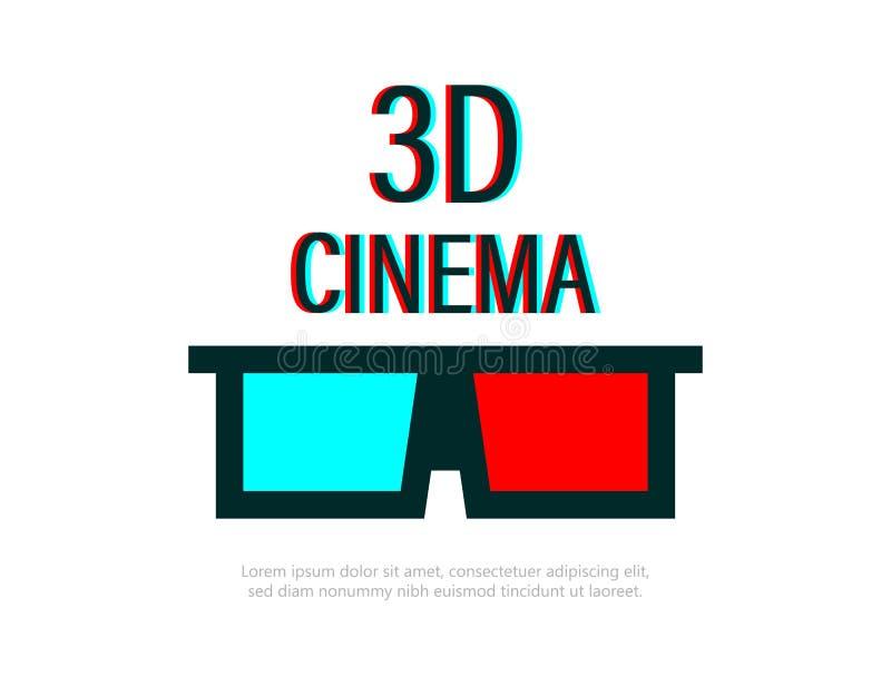 玻璃3D戏院商标 戏院的玻璃3d 横幅或海报戏院的 3d戏院的Flayer 库存例证