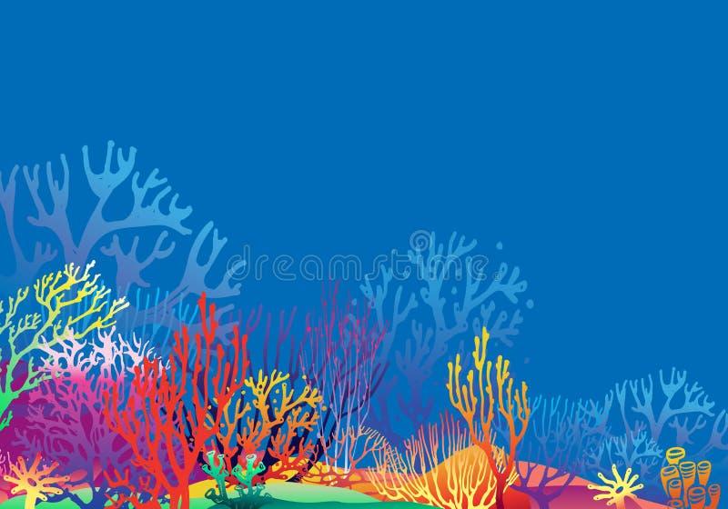 珊瑚剪影的水下珊瑚礁景观 库存图片