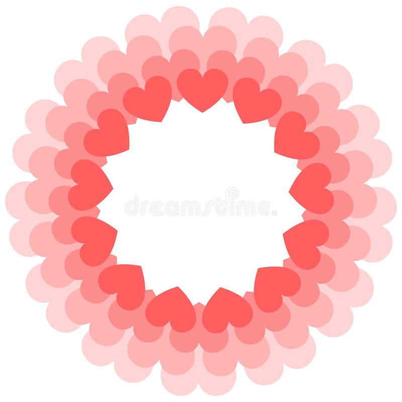 珊瑚心脏圆的框架  情人节贺卡或婚姻的邀请 库存例证