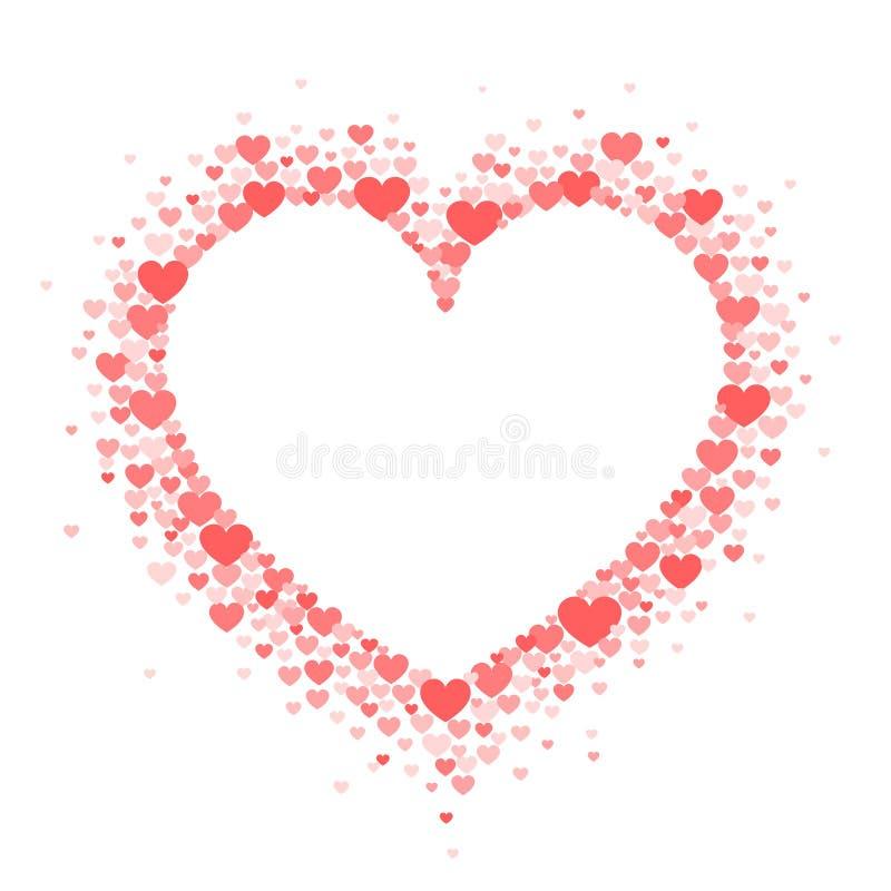 珊瑚心脏框架以牡鹿的形式 情人节贺卡或婚姻的邀请 库存例证