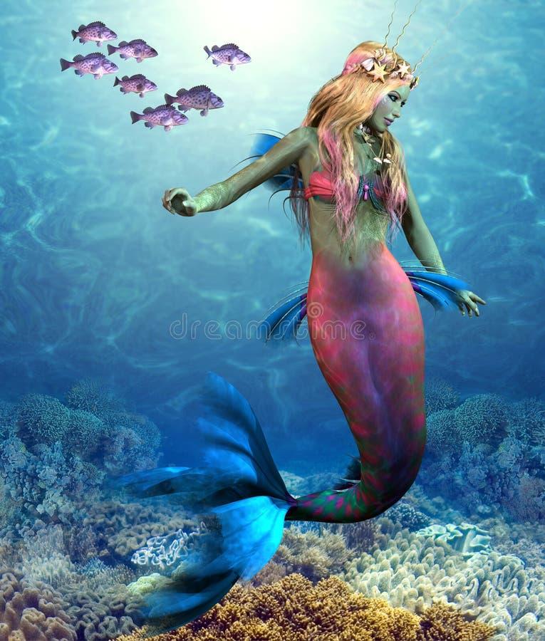 珊瑚礁美人鱼 向量例证