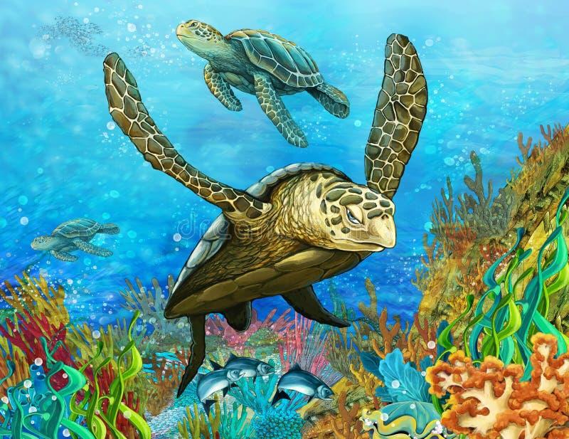 珊瑚礁-孩子的例证 皇族释放例证