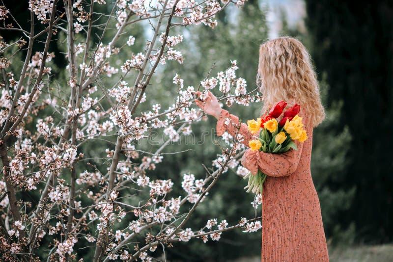 珊瑚礼服的一个女孩有黄色和红色郁金香花束的  免版税库存照片