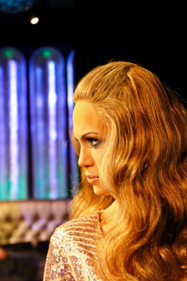 珍妮佛・罗培兹、波多黎各人歌手和女演员,杜莎夫人蜡象馆蜡博物馆 免版税库存图片