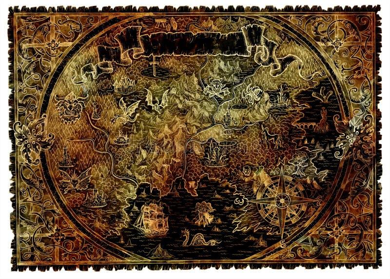 珍宝古老海盗地图与幻想生物的 库存例证