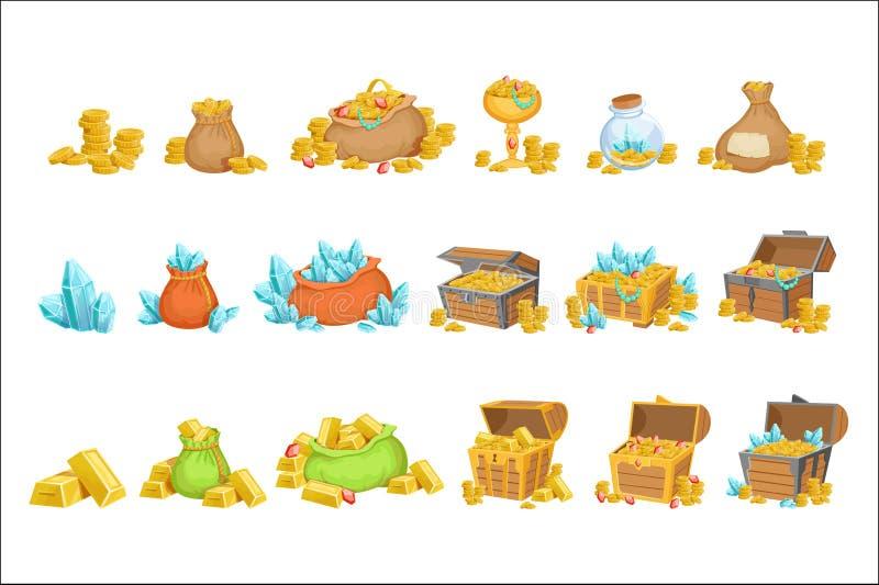 珍宝和财宝套游戏设计元素 皇族释放例证