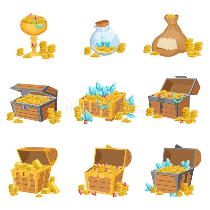 珍宝和财宝套图形设计元素 库存例证