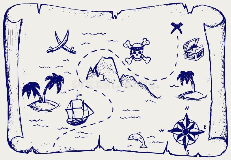珍宝海岛映射 向量例证
