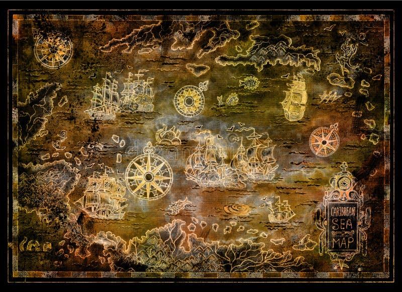 珍惜加勒比海地图有海盗风船的,指南针,黑色的海岛 皇族释放例证