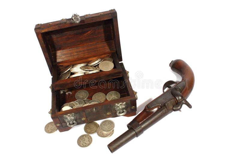 珍惜配件箱和手枪 免版税库存照片