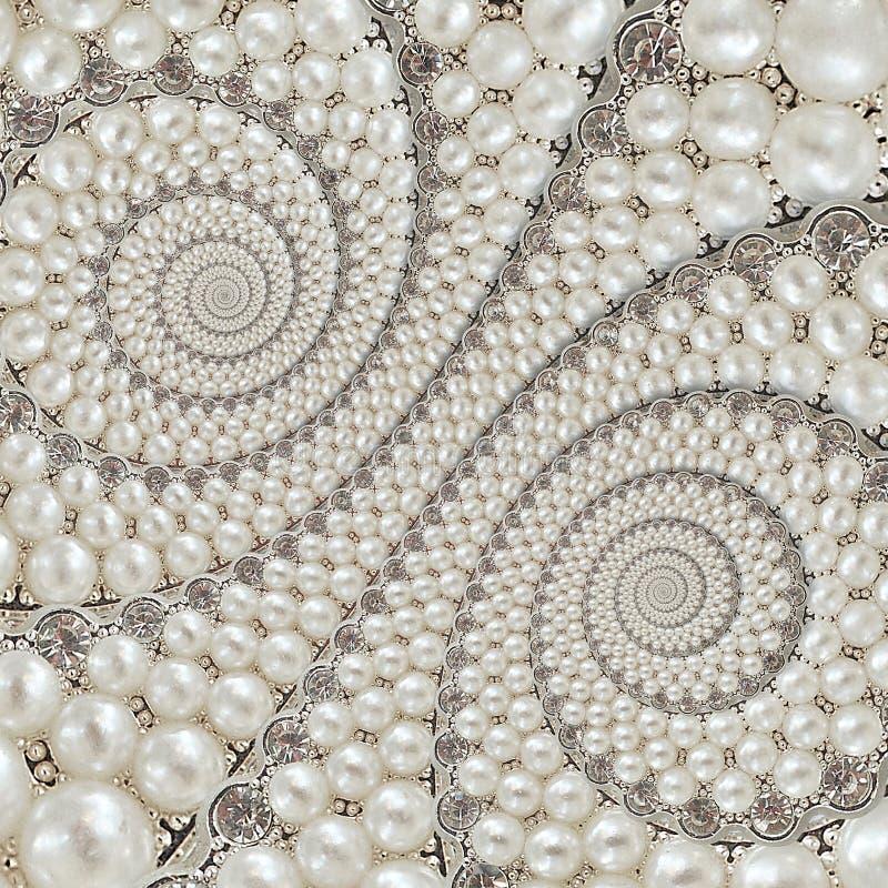 珍珠和金刚石珠宝提取螺旋背景样式分数维 成珠状背景,反复样式 抽象珍珠backg 免版税库存图片