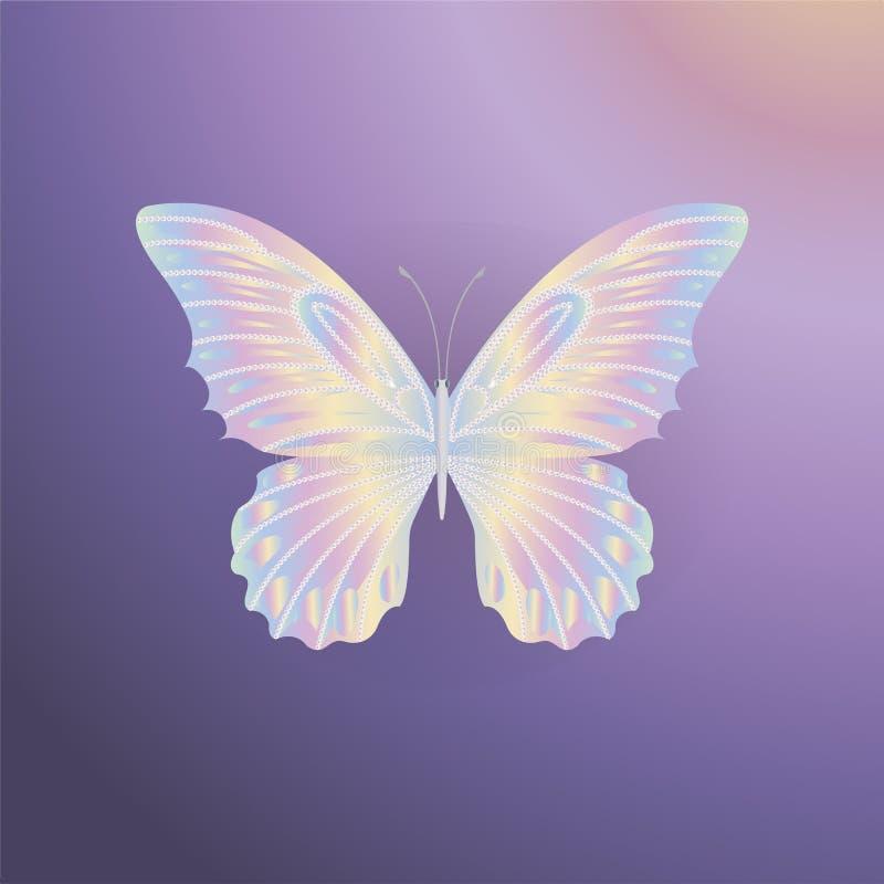 珍珠在紫色背景的鞋带蝴蝶 库存例证