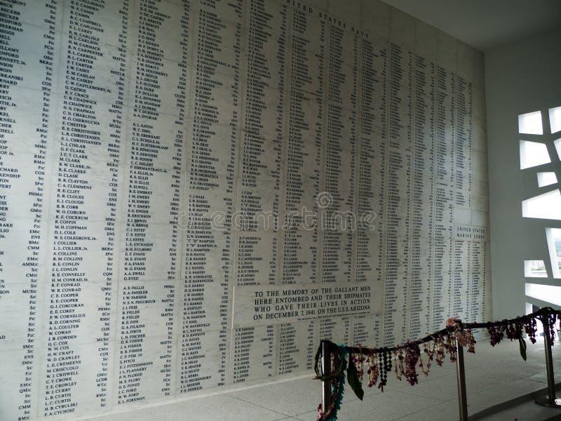 珍珠港的美国海军亚利桑那号战列舰纪念馆在奥阿胡岛,夏威夷 库存图片