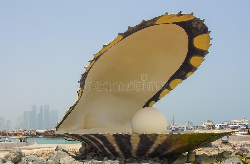 珍珠纪念碑在多哈,卡塔尔 库存照片