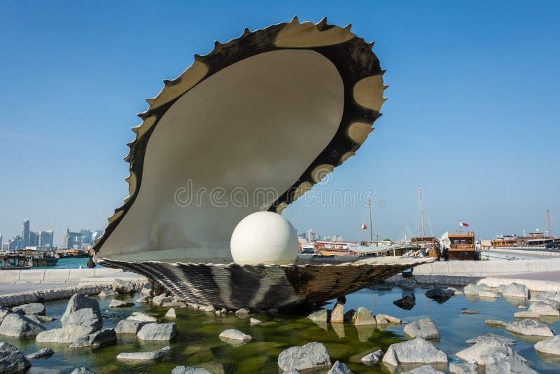 珍珠纪念碑在多哈,卡塔尔 免版税库存图片