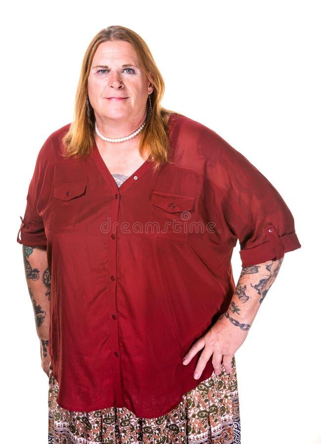 珍珠项链的变性妇女 免版税库存照片