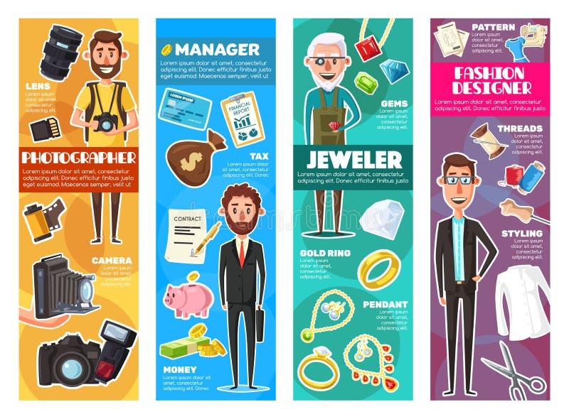 珠宝商、摄影师、裁缝设计师和经理 库存例证