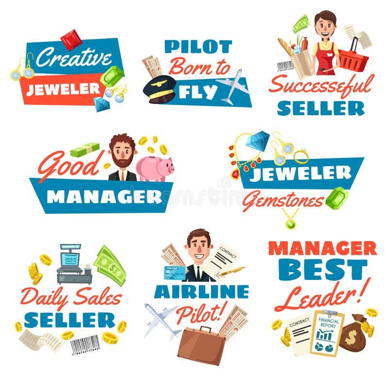 珠宝商卖主、飞行员和商人 向量例证