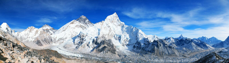 珠峰和Khumbu冰川全景 免版税库存图片