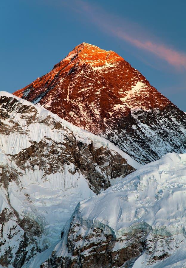 珠峰晚上视图从Kala Patthar的 免版税图库摄影