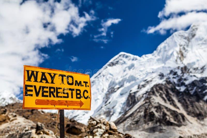 珠峰路标喜马拉雅山 库存图片