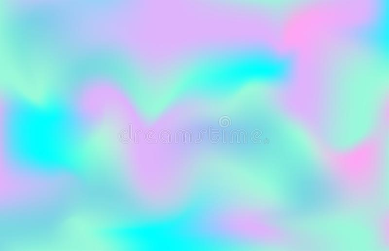 珠母般的纹理背景 美人鱼独角兽样式 梯度桃红色蓝色颜色背景 向量例证