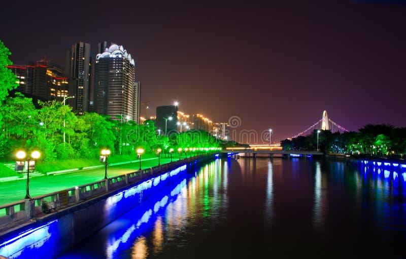 珠江夜场面 库存图片