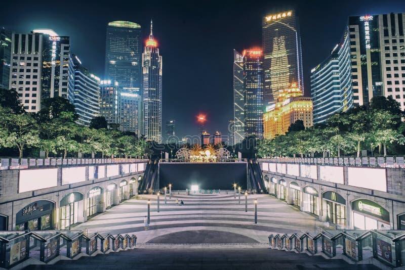 珠江新市镇夜视图  图库摄影