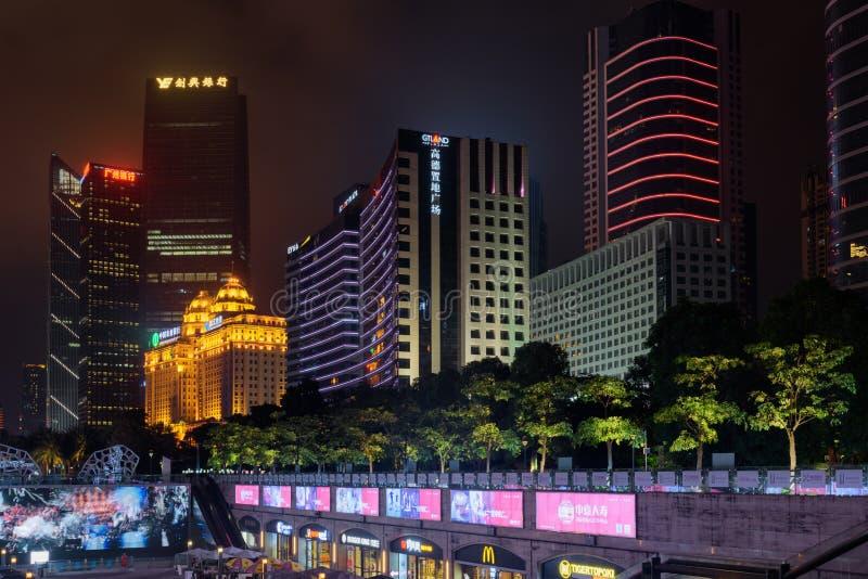 珠江新市镇的夜视图在广州,中国 图库摄影