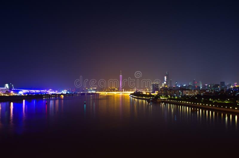 珠江河在广州瓷的晚上 库存照片