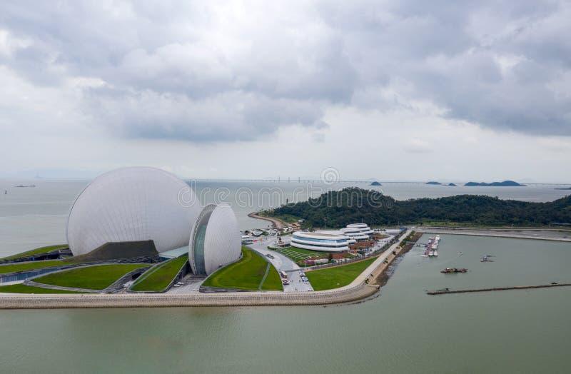 珠海歌剧院空中照片  免版税库存照片