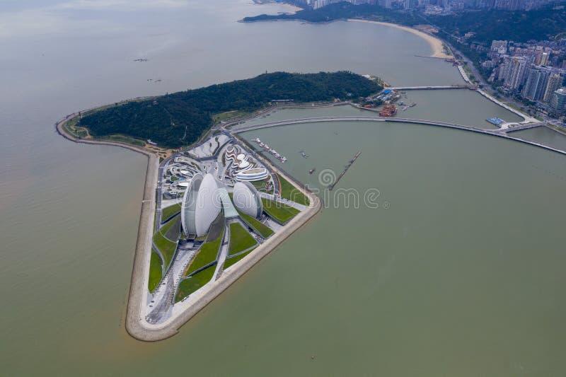 珠海歌剧院空中照片  免版税库存图片