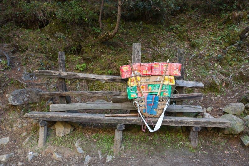 珠穆琅玛营地TREK/NEPAL - 2015年10月19日 免版税库存图片