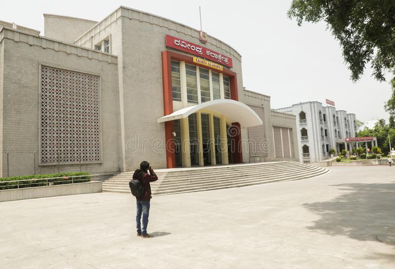 班加罗尔,印度,2019年6月4日:Ravindra Kalakshetra大厦,是一个文化中心在班加罗尔 库存照片