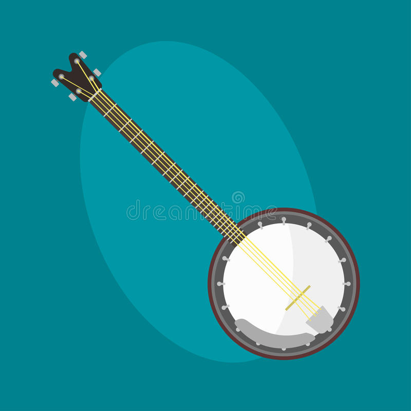 班卓琵琶吉他象串起了乐器古典乐队艺术声音工具,并且音响交响乐串起了无意识而不停地拨弄 库存例证