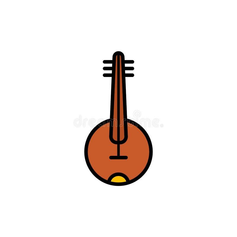 班卓琵琶平的传染媒介象标志标志 库存例证