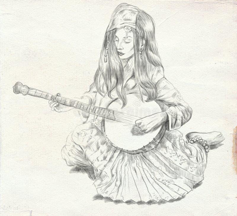 班卓琵琶球员 徒手画的剪影 大型, orignal 库存例证