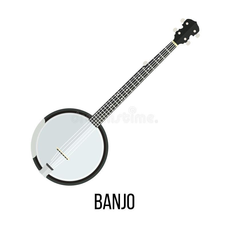 班卓琵琶的被隔绝的图象在白色背景的 皇族释放例证