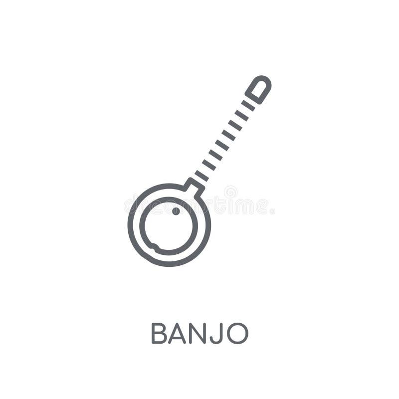 班卓琵琶线性象 在白色ba的现代概述班卓琵琶商标概念 皇族释放例证