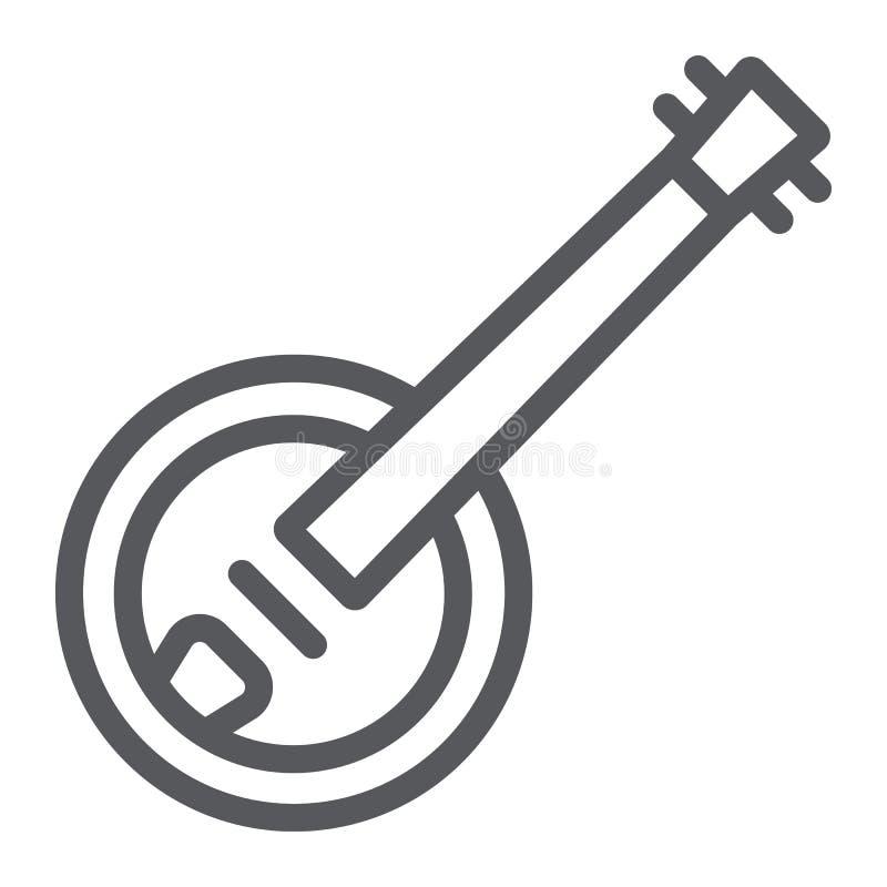 班卓琵琶线象,音乐和串,民间乐器标志,向量图形,在白色背景的一个线性样式 皇族释放例证
