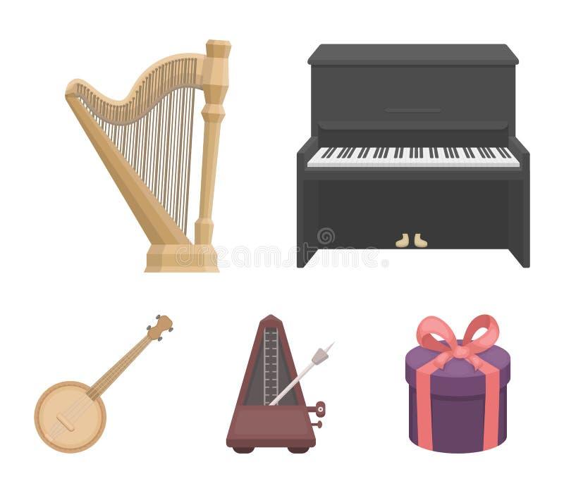 班卓琵琶,钢琴,竖琴,节拍器 乐器在动画片样式传染媒介标志库存设置了汇集象 库存例证