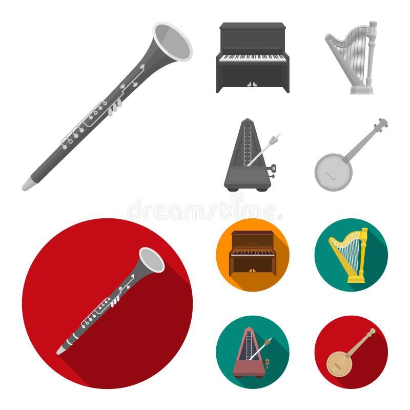 班卓琵琶,钢琴,竖琴,节拍器 乐器在单色,平的样式传染媒介标志库存设置了汇集象 向量例证