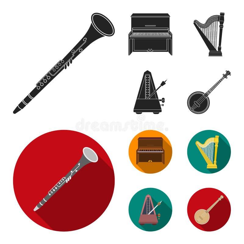 班卓琵琶,钢琴,竖琴,节拍器 乐器在黑,平的样式传染媒介标志库存设置了汇集象 向量例证