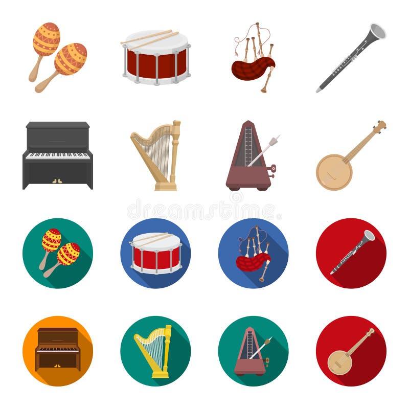 班卓琵琶,钢琴,竖琴,节拍器 乐器设置了在动画片,平的样式传染媒介标志股票的汇集象 库存例证