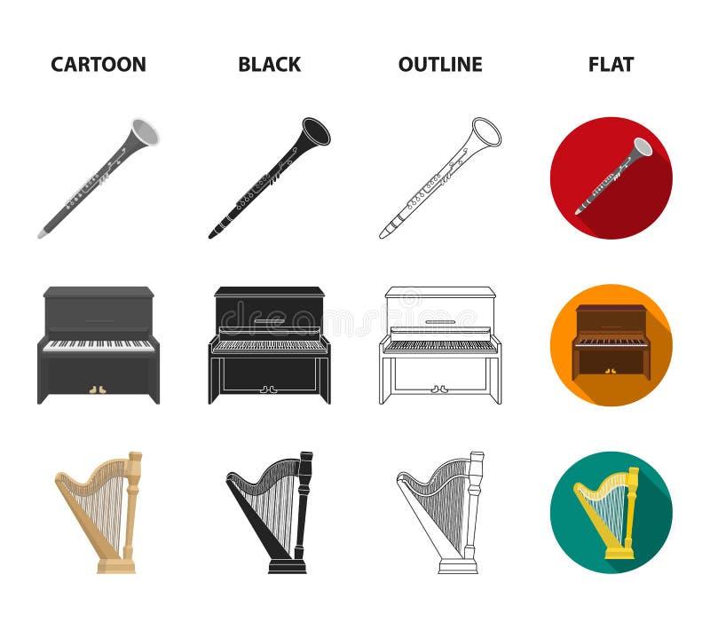 班卓琵琶,钢琴,竖琴,节拍器 乐器设置了在动画片,黑色,概述,平的样式传染媒介的汇集象 库存例证