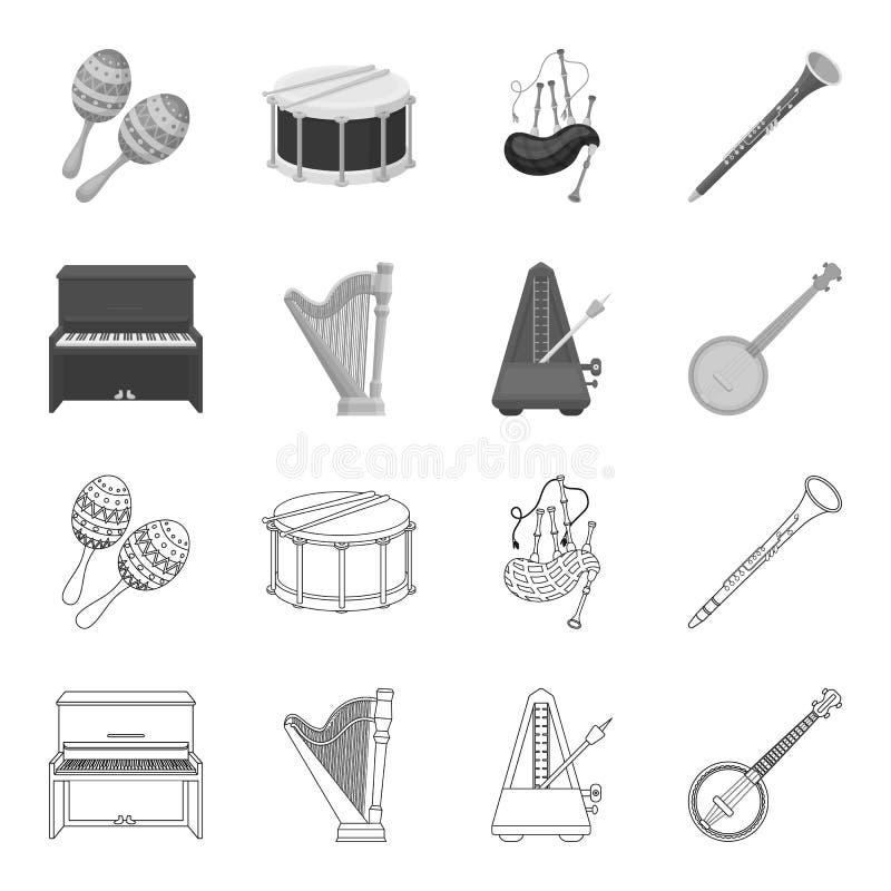 班卓琵琶,钢琴,竖琴,节拍器 乐器设置了在概述,单色样式传染媒介标志股票的汇集象 向量例证
